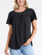 Womens ruffle short sleeve buttoned round neckline yoke front lovely top