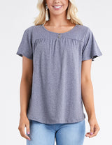Ruffle Buttoned Round Neckline Yoke Front Lovely Top