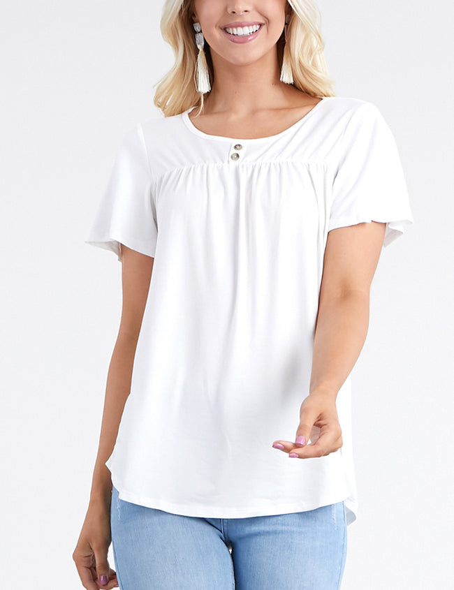 OFFWHITE | CWTTS224 Ruffle Buttoned Round Neckline Yoke Front Lovely Top