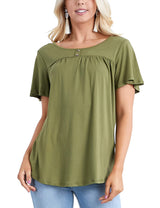 OLIVE | CWTTS224 Ruffle Buttoned Round Neckline Yoke Front Lovely Top