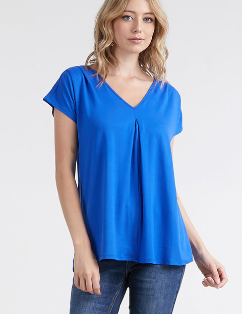 V-Neck Flared Hem Loose Fitting Lovely Top