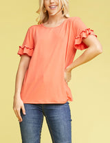Womens contrast ruffle short sleeve round neckline loose fitting cute tee