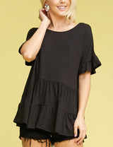 Round Neck Ruffle Short Sleeve Ruffle Hem Top