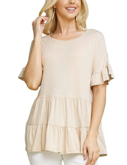 Womens ruffle short sleeve boat neckline lovely top with flared ruffle hem