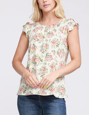Ruffle Cap Sleeve Gathered Neckline Lovely Top