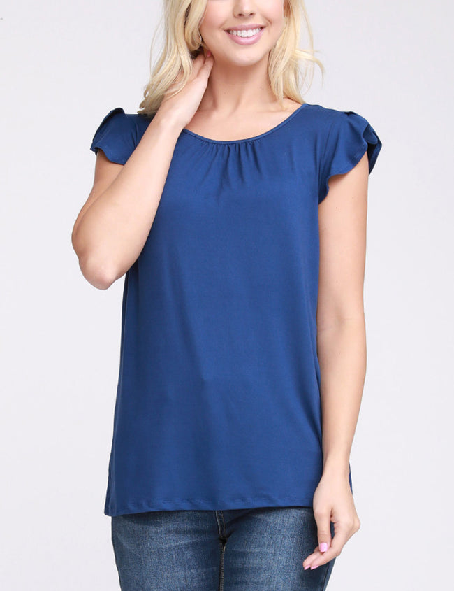 Womens ruffle cap sleeve gathered neckline lovely top