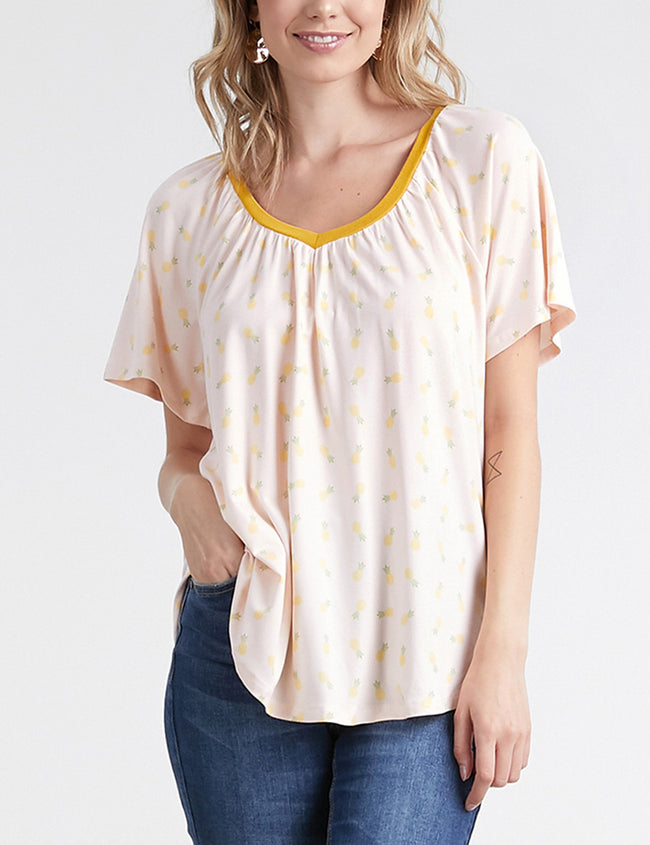 Womens short sleeve lined gather neckline lovely top with flared hem