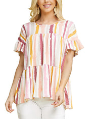 Womens ruffle short sleeve boat neckline lovely top with tiered ruffle hem