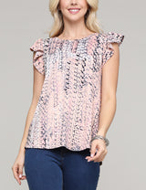 Ruffle Cap Sleeve Round Neckline Loose Fitting Lovely Top