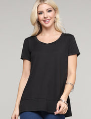 Womens short sleeve round neckline loose fitting comfortable tee with layered hem