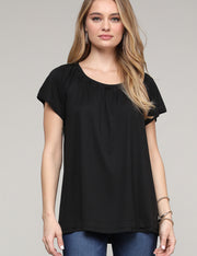 Ruffle Scooped Neckline Loose Fitting Layered Casual Top