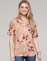 Dolman Key Hole V-Neck Loose Fitting Casual Tunic Top
