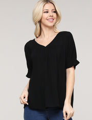 V-Neck Loose Fitting Flared Hem Shirring Casual Top