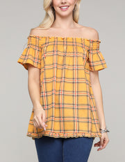 Womens off the shoulder short sleeve lovely top with short ruffle hem