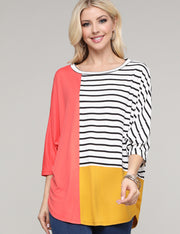 Dolman 3/4 Sleeve Round Neckline Loose Fitting Color Block Casual Top
