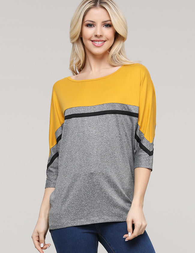 Elbow Sleeve Round Neckline Loose Fitting Color Block Casual Tunic Top