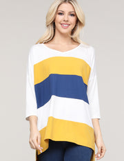 3/4 Sleeve V-Neck Loose Fitting Multi Color Block Casual Top