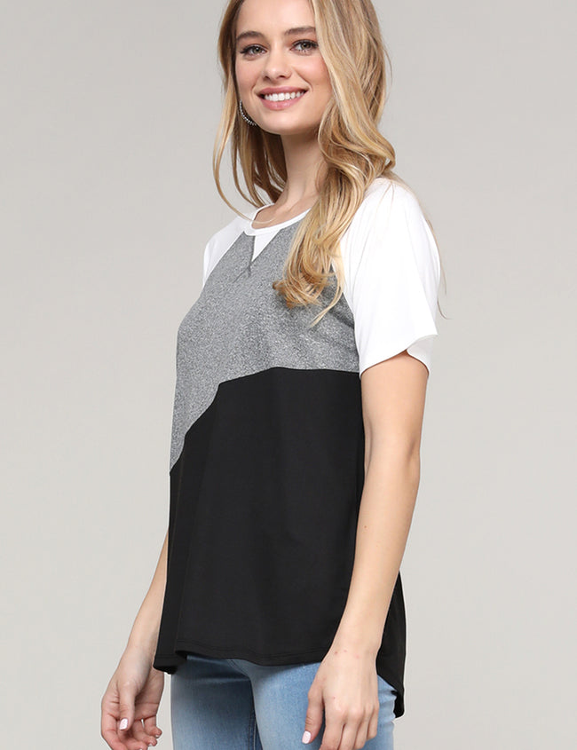 HGREYBLACK | CWTTS263 Round Neckline Loose Fitting 3 Color Block Raglan Tee