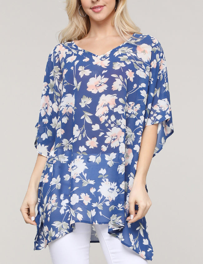 GALAXYBLUEFRL | CWTTS266 Ruffle Kimono V-Neck Loose Fitting See-Through Casual Tunic Top