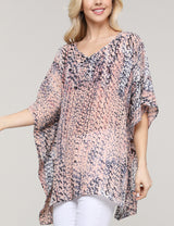 PEACHCORAL | CWTTS266 Ruffle Kimono V-Neck Loose Fitting See-Through Casual Tunic Top
