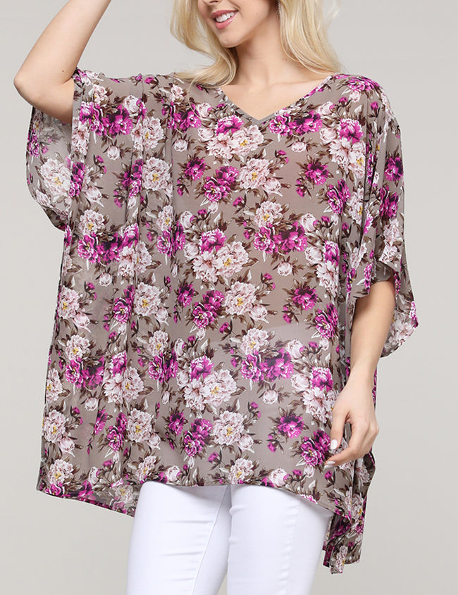 TAUPEPURPLEFRL | CWTTS266 Ruffle Kimono V-Neck Loose Fitting See-Through Casual Tunic Top