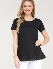 Round Neck Short Sleeve Top With Bottom Lace