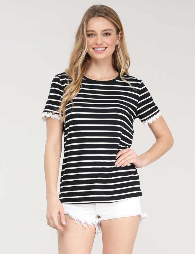 Womens lace short sleeve round neckline striped lovely top