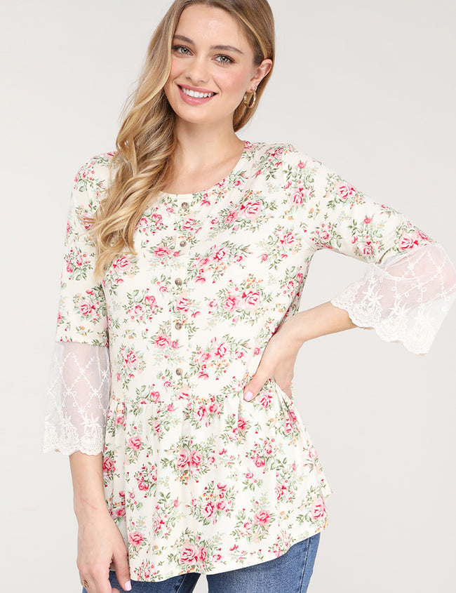 See-Through Lace 3/4 Sleeve Round Neckline Buttoned Lovely Top