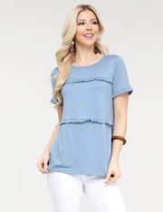 Short Dress Round Neckline Loose Fitting Ruffle Tiered Casual Top