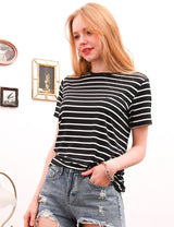 Womens short sleeve banded round neckline comfortable casual top