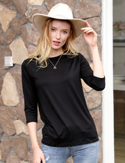 Womens 3/4 sleeve banded round neckline comfortable casual top