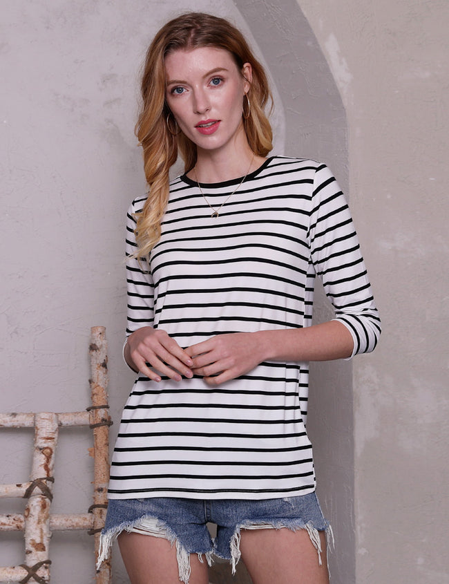 3/4 Sleeve Banded Round Neckline Comfortable Casual Top