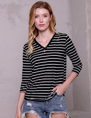 3/4 Sleeve Banded V-Neck Comfortable Casual Top