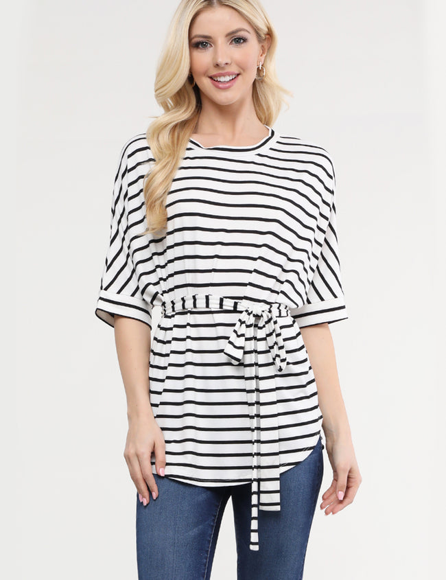 Round Neck Dolman Sleeve Top With Waist Strap