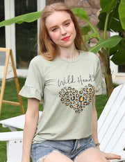 Round Neck Leopard Heart Print Short Sleeve Tee