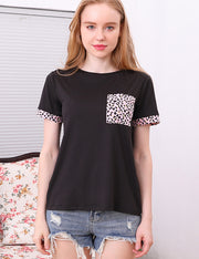 Round Neck Short Sleeve Band Top With Pocket