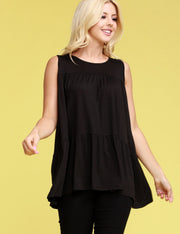 Sleeveless Round Neck Chest Shirring Top
