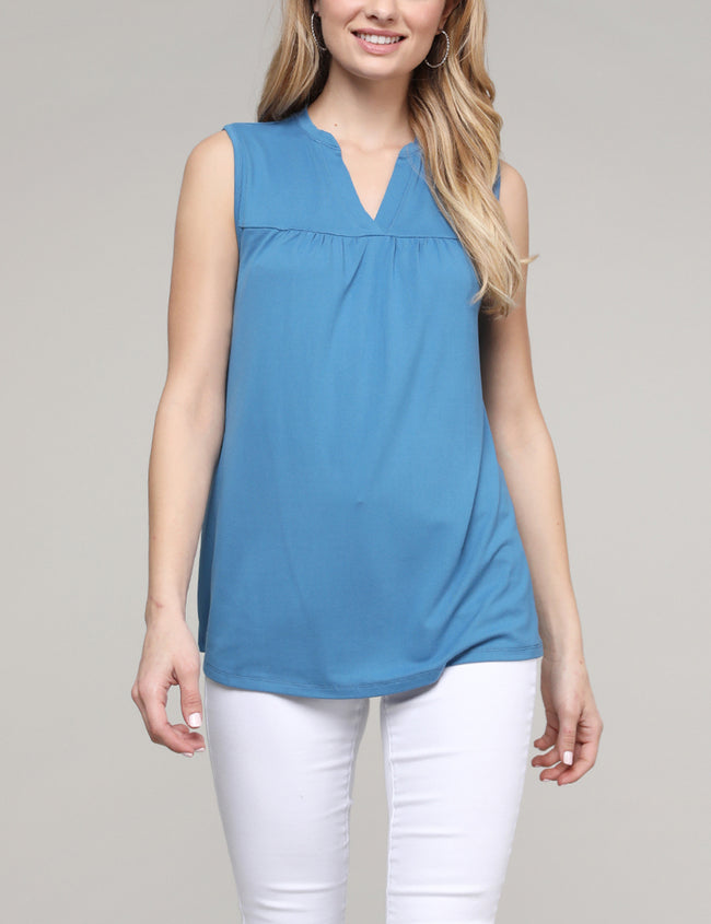 Placket Yoke Neckline Loose Fitting Shirring Casual Top
