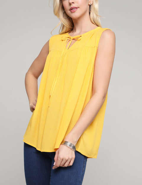 Ribboned V-Neck Loose Fitting Shirring Casual Top