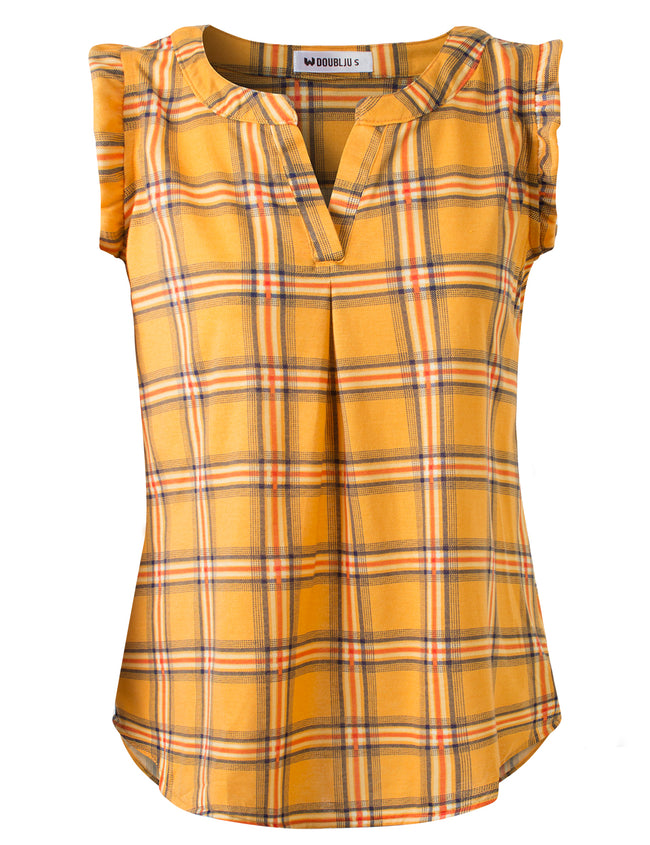 Ruffle Cap Slit Neckline Loose Fitting Plaid Stylish Top