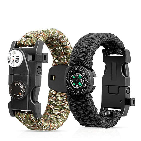 Outdoor Self-rescue Parachute Cord Bracelet with Compass