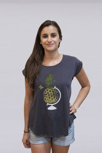Gray Globe Pineapple T-shirt