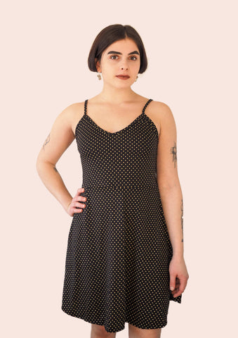 Black London dress with pineapple yellow polka dots & bananas