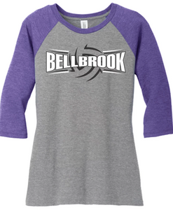 Bellbrook Middle School Volleyball Ladies Tri-Blend 3/4 Sleeve Shirt