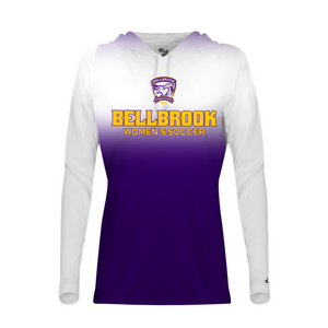 BHS Women's Soccer Ladies White/Purple Ombre Hooded Shirt