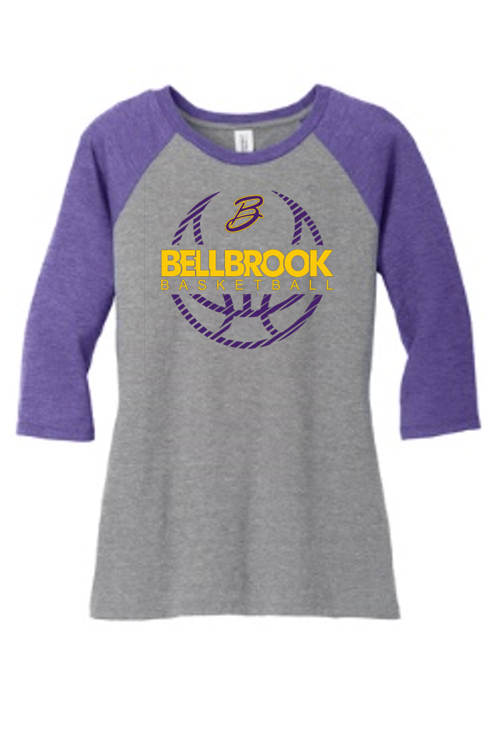 BHS Basketball Ladies Tri-Blend 3/4 Sleeve Raglan Shirt