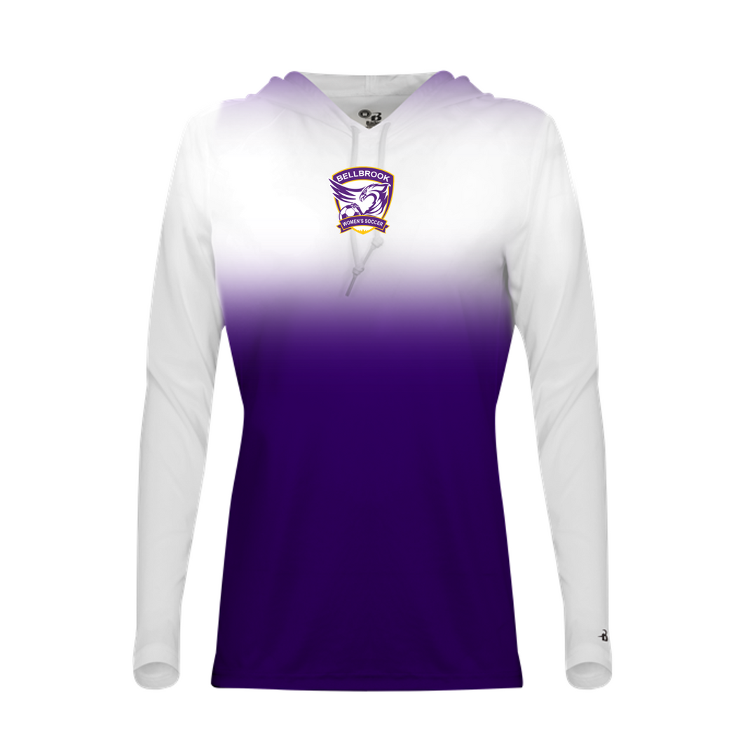 Copy of Bellbrook Women's Soccer Ladies White/Purple Ombre Hooded Shirt