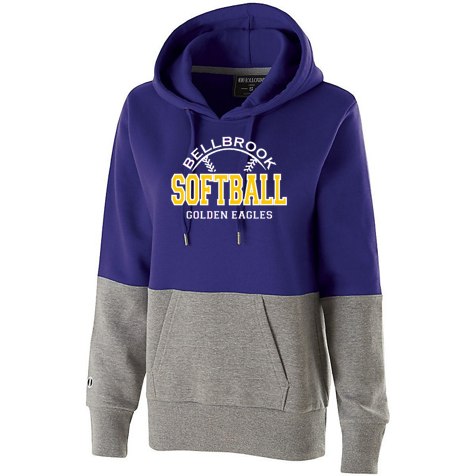 Bellbrook Softball Ladies Ration Hoodie - Purple/Charcoal Heather