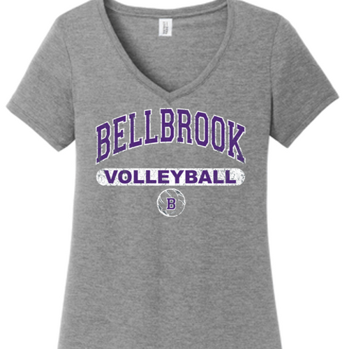Bellbrook Middle School Volleyball Ladies V- Neck Tri-Blend Shirt