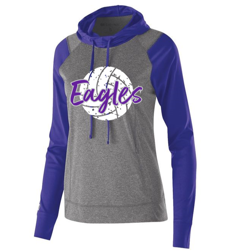 BHS Volleyball Ladies Graphite Heather/Purple Echo Hoodie